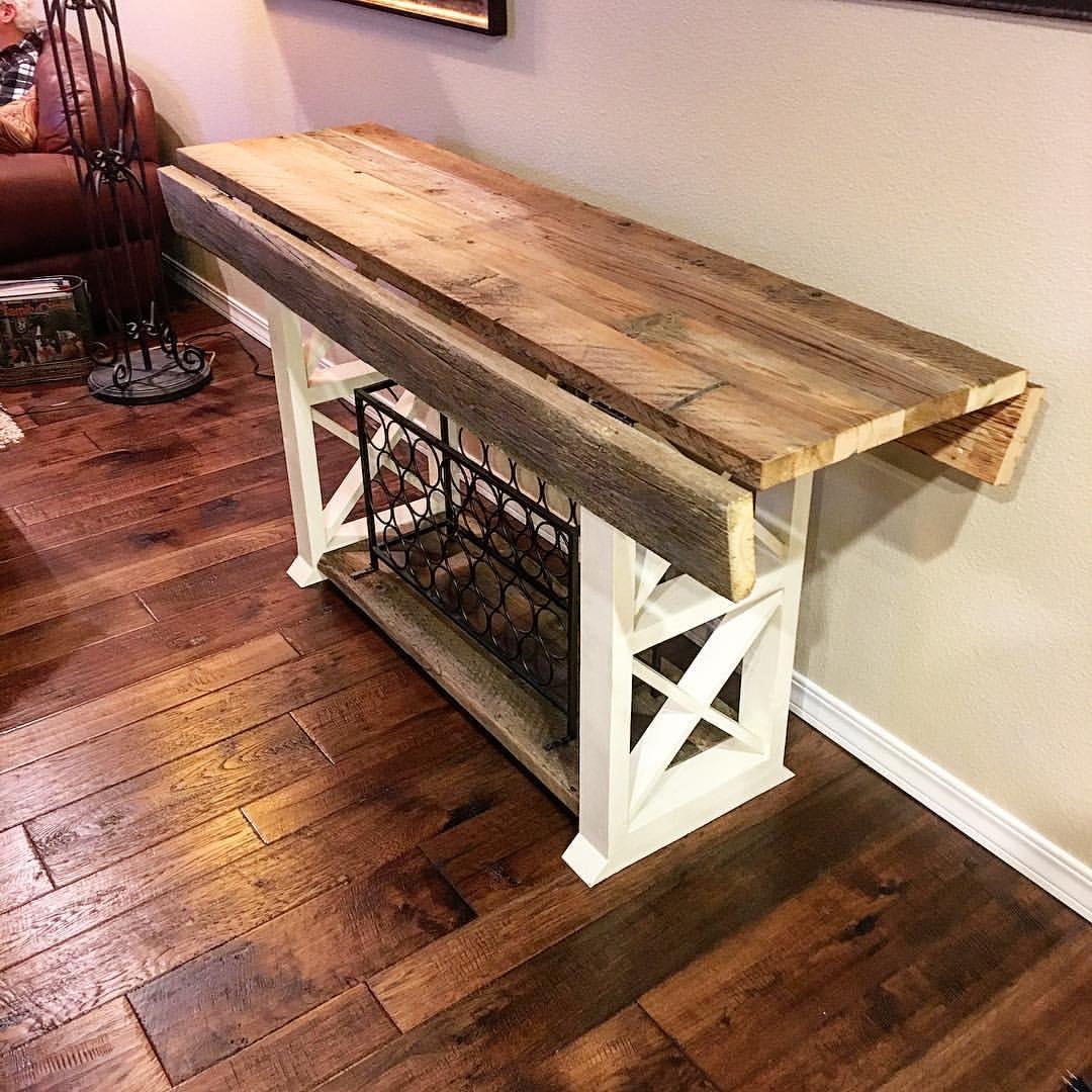 Entrance table with drop down leaf scavenger woodworks for Reclaimed wood furniture bend oregon