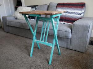 refurbished antique fold up end table