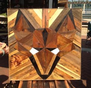Fox head made from reclaimed barn wood in Owensboro, Kentucky