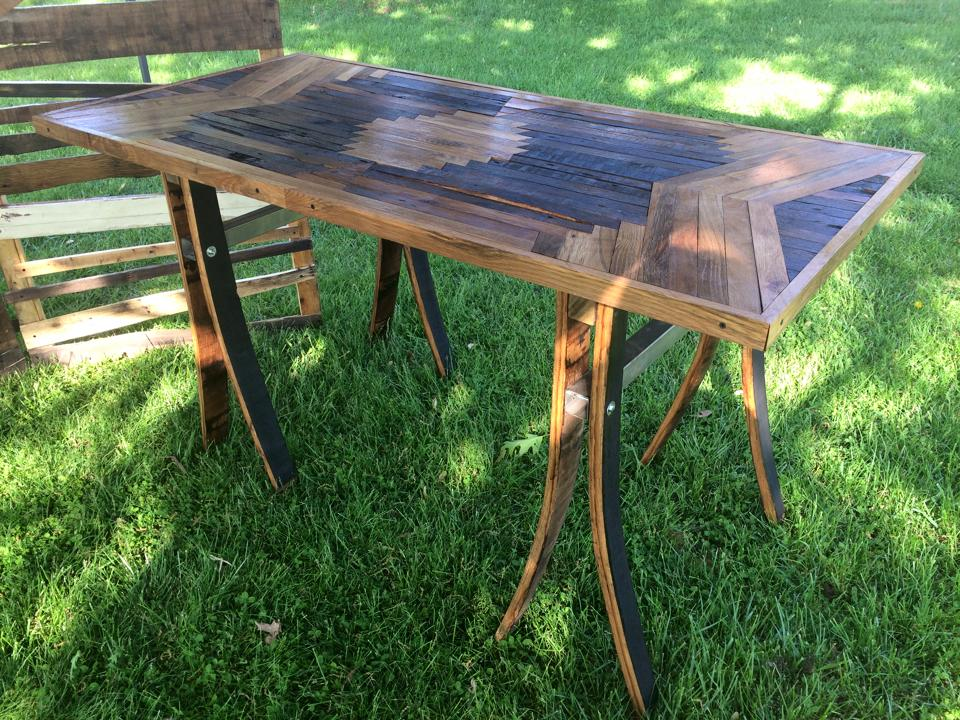 Large inlaid dining table with barrel stave legs for Reclaimed wood bend oregon