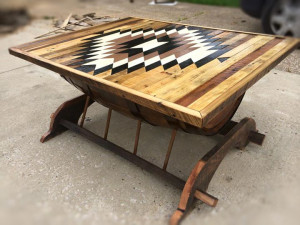 Bourbon barrel coffee table with design on top