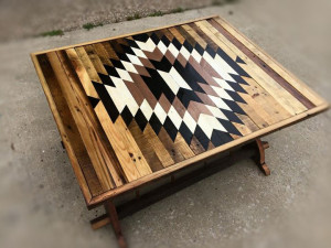 Bourbon barrel coffee table with storage