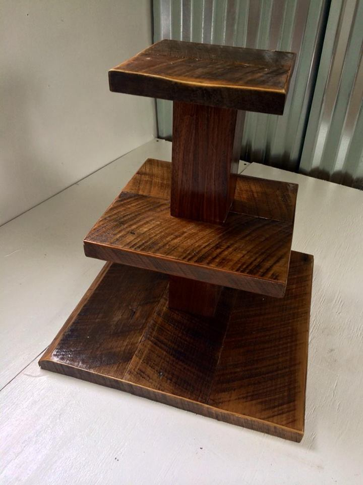 Barn wood cupcake stand for a rustic wedding.
