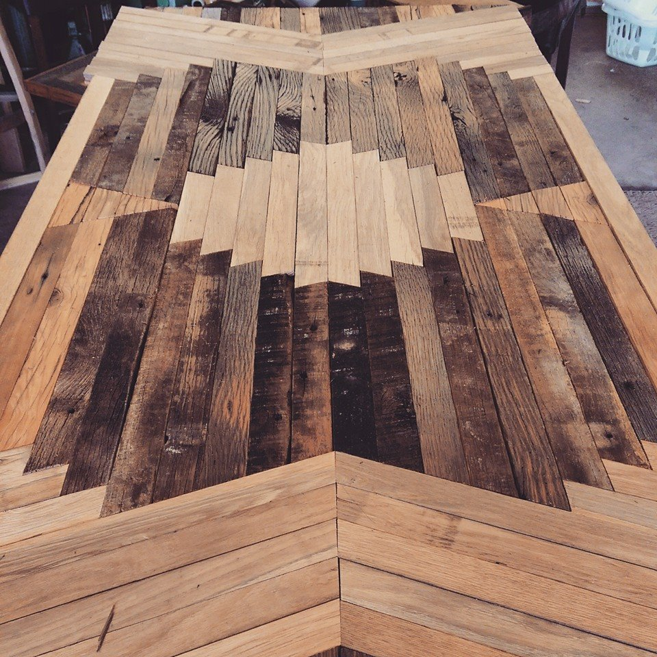 Reclaimed barn wood kitchen table with design