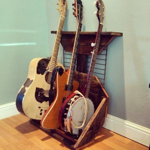 reclaimed barn wood guitar display holder with metal hardware