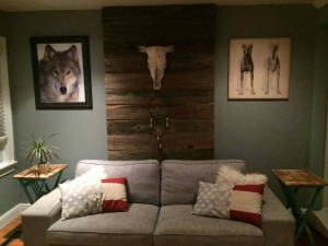 Barn wood wall installation