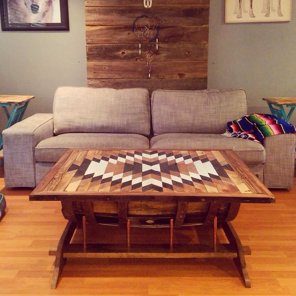 Bourbon barrel coffee table with copper pipe and storage for Reclaimed wood furniture bend oregon