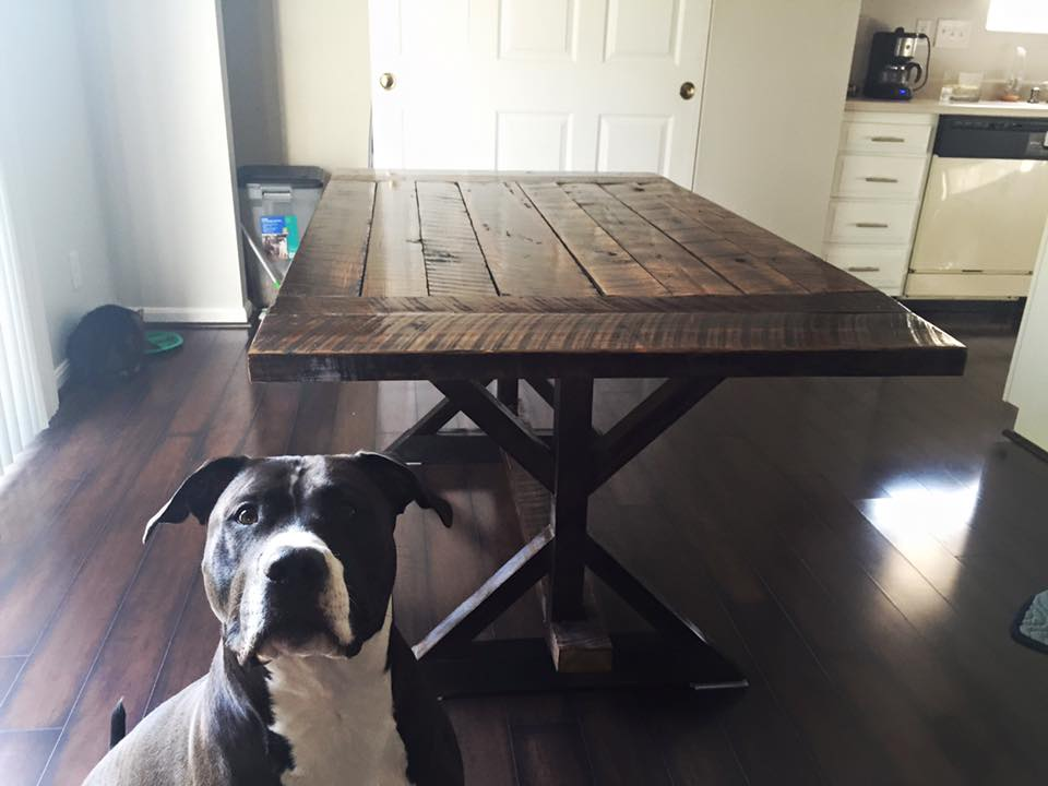 Rescued Pitbull, Ranger, posed with reclaimed wood table
