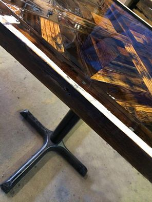 reclaimed barn wood square table for gambrinu's in owensboro, ky