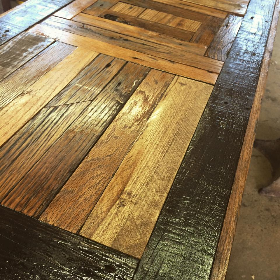 Tabletop for barn wood coffee table scavenger woodworks for Reclaimed wood furniture bend oregon