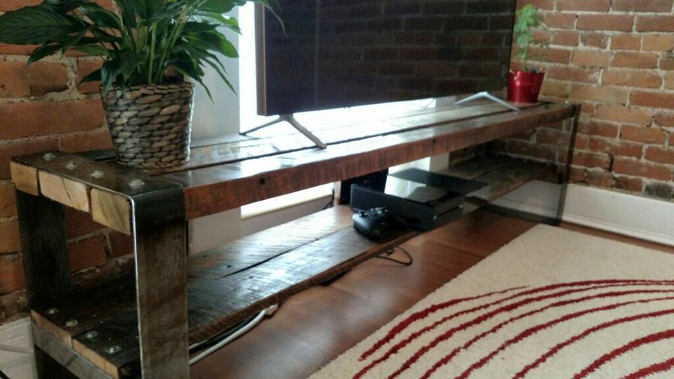 Barn wood tv stand with steel details.