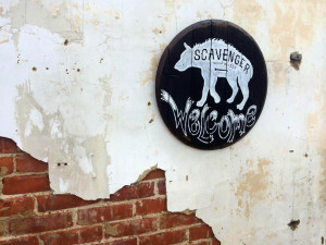 Scavenger Woodworks logo on Kentucky bourbon barrel head.