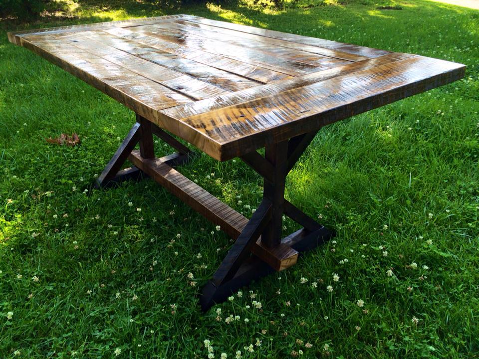 Custom reclaimed barn wood dining farm style table for Reclaimed wood furniture bend oregon