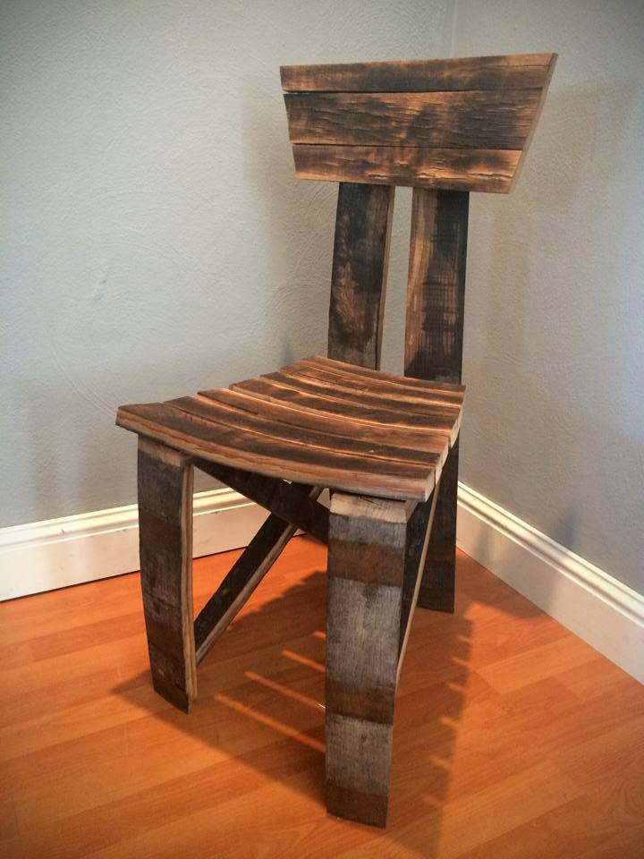 Bourbon barrel chair by scavenger woodworks scavenger for Reclaimed wood bend oregon