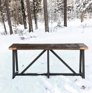 Modern Coffee table made from reclaimed barn wood in Bend, Oregon