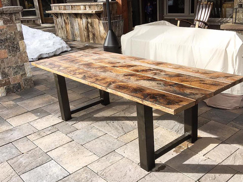 Rustic industrial style pine outdoor table with steel base Reclaimed wood furniture portland oregon