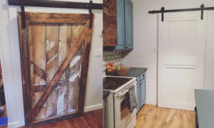 Reclaimed wood sliding barn doors with steel hardware