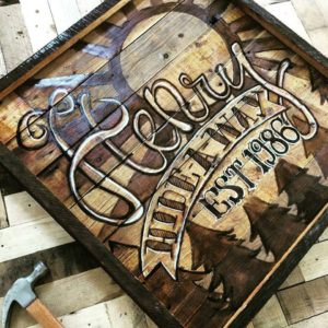 Hand painted barn wood cabin lake house sign