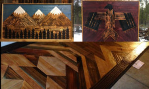 Wooden geometric inlaid home decor and artwork in bend oregon