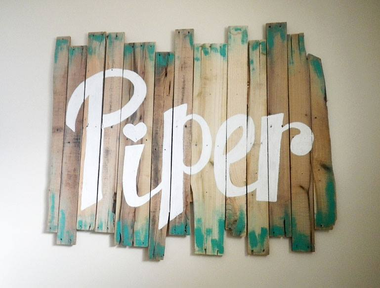 Hand painted reclaimed wood pallet sign