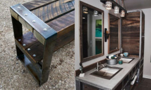 Reclaimed barn wood furniture with steel accents