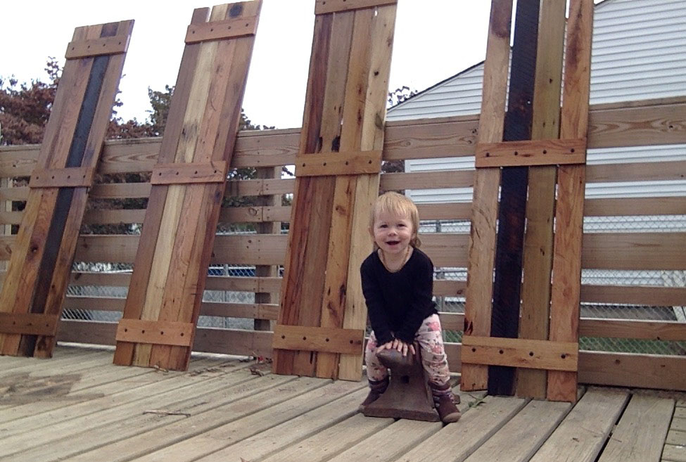 Scavenger Wood Baby with custom reclaimed wood shutters