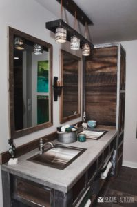 Bathroom Vanity Made from Reclaimed Barn wood, Steel and Concrete