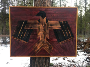 Eagle artwork made from reclaimed wood in Bend, Oregon