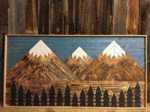 Inlaid Wood Mountain Art