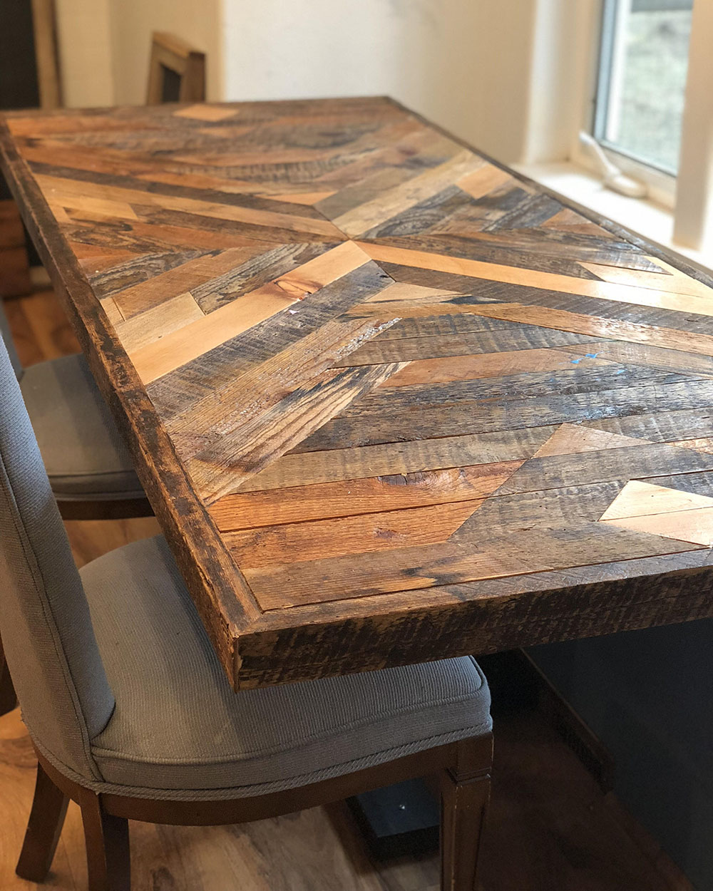 Inlaid Table top made from reclaimed wood