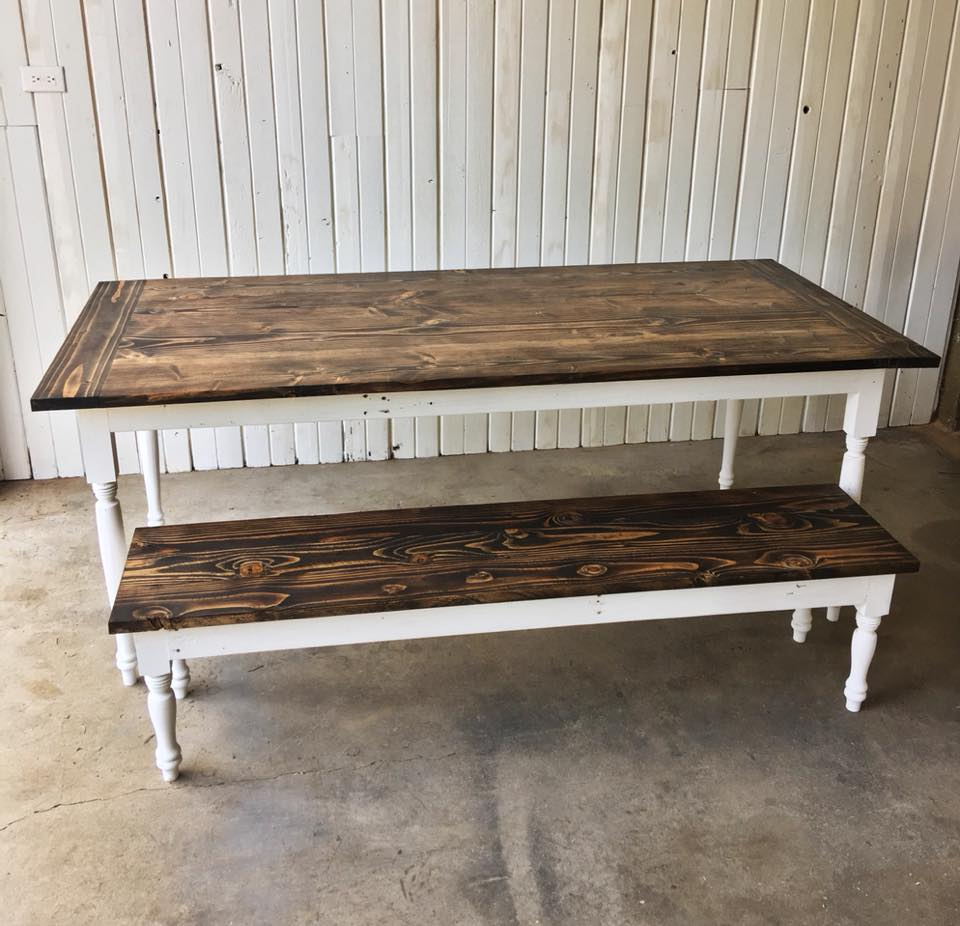 Spun leg farm style table with white base scavenger for Reclaimed wood bend oregon