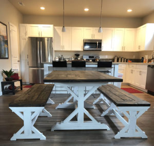 Farm Style Table with White Base and two benches