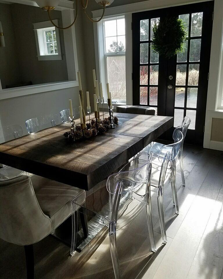 Modern Reclaimed Barn Wood Table with wooden leafs