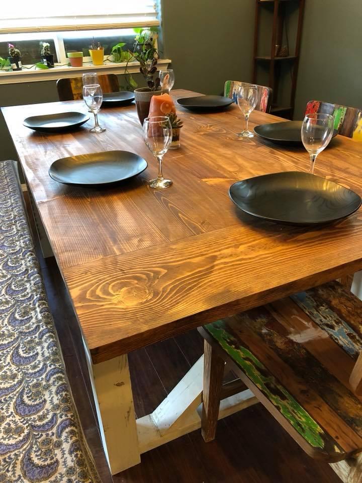 Dining tables scavenger woodworks for Reclaimed wood furniture bend oregon