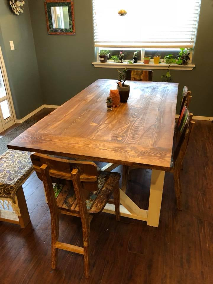 Large Farm Style Table with white base