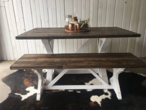 Rustic Modern Style farm house table with white base