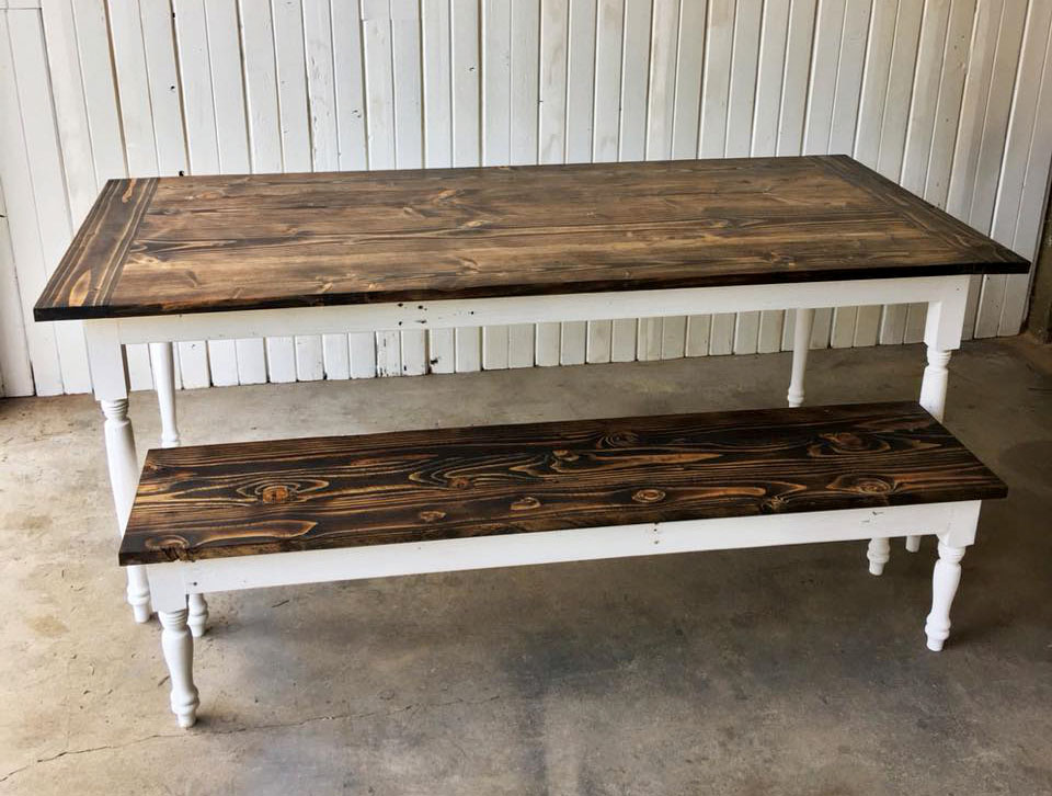 Turned Leg Rustic/Farm Style Dining Table