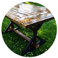 reclaimed barn wood table with glossy finish