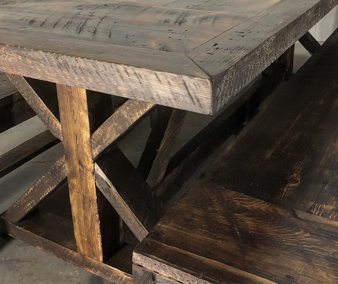 Dining tables scavenger woodworks for Reclaimed wood furniture portland oregon