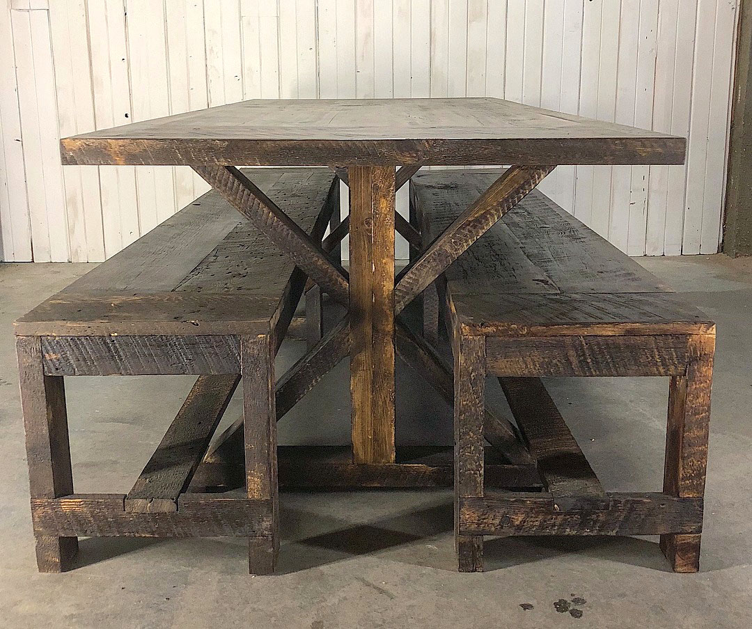 Custom dining tables in bend oregon by scavenger for Reclaimed wood furniture portland oregon